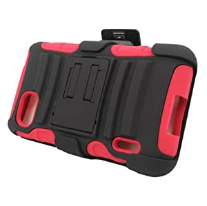 Dual Layer Plastic Silicone Black On Red Hard Cover Snap On Case W/ Belt Clip Holster Kickstand For LG Optimus F3 LS720 (Accessorys4Less)