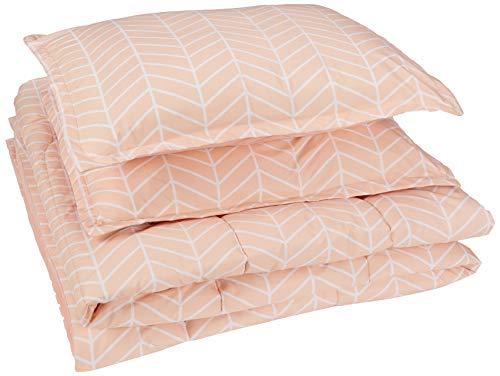 AmazonBasics Comforter Set - Soft, Easy-Wash Microfiber - Full/Queen, Blush Pink Chevron