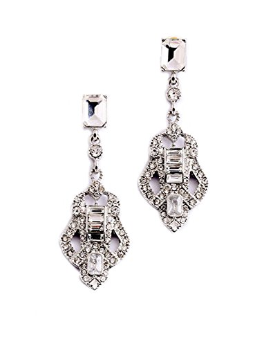 (Art Deco Antique Vintage Flapper Style Rhinestone Wedding Bridal Prom Earrings)