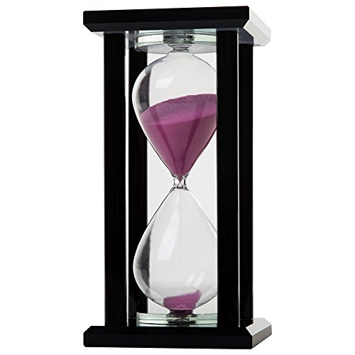 rglass Black Square Base Fuchsia Sand Timer Multiple Time Available (Black Crystal Base)