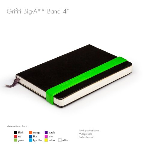 """Grifiti Band Joes 4"""" 5 Pack Assorted Colors Heat Cold UV Chemical Resistant Books, Camera Lens, Art, Cooking, Wrapping, Exercise, Bag Wraps, Dungies and Made with Silicone Instead of Rubber or Elastic"""