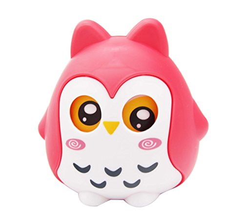 H&W Cartoon Owl Coin Bank, Shatterproof Money Box, Piggy Bank, Candy Box, Eyes Shake, Best Gift for Children, Boys, Girls, Kids, (Red) ()