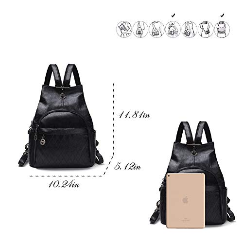 Small Leather Convertible Backpack Sling Purse Shoulder Bag for Women (Black1) by Vintga (Image #2)