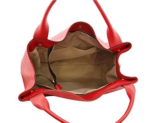 DEBORAH Borsa a spalla in pelle martellata morbida rosso