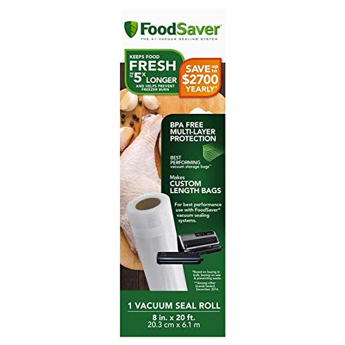 FoodSaver Easy Seal & Peal Vacuum Seal Roll, 8 in x 18 ft (20.3 cm x 5.49 m)