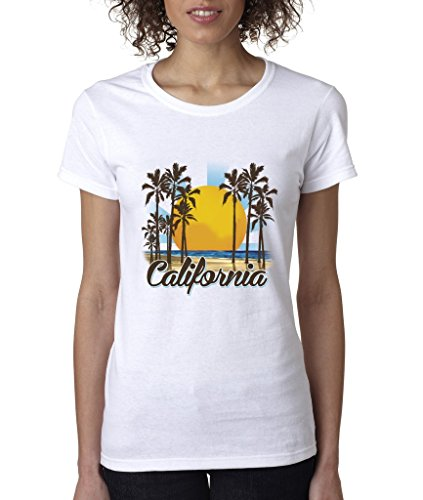 ad51dfc5 California Republic Sunny Palm Trees Ladies T-Shirt Cali Life West Coast  Shirts Large White