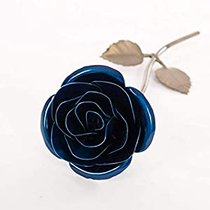 Personalized Gift Hand-Forged Wrought Iron Blue Metal Rose - Valentine's Day Gift 73
