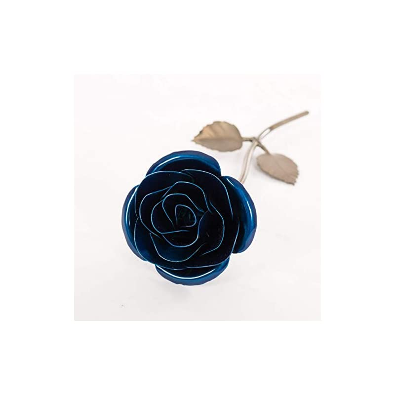 silk flower arrangements personalized gift hand-forged wrought iron blue metal rose - valentine's day gift