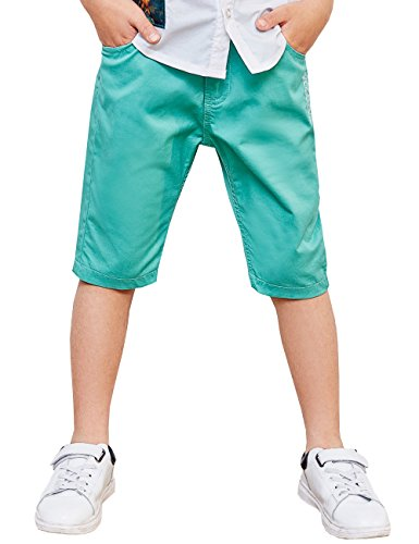 BYCR Boys' Solid Color Cotton Elastic Waist Shorts for Kids No. 7172100792 (150 (US Size 10), Green) -