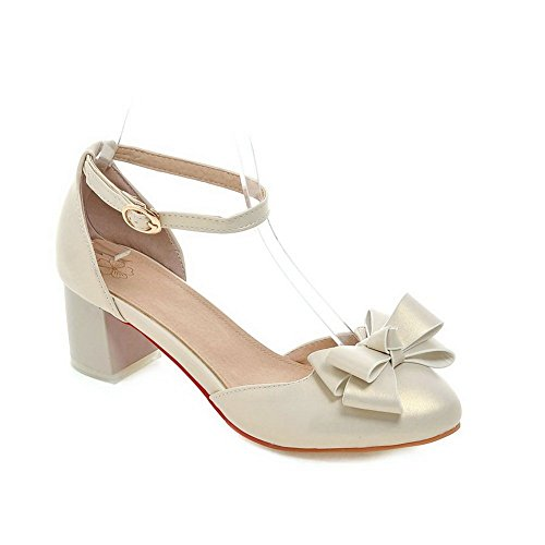 Adee Damen Bögen romanischen Stil Polyurethan Pumpen Schuhe, Gold - gold - Größe: 38