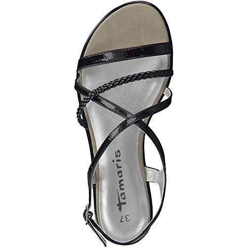 black 22 Para Mujer 1 Sandalia Tamaris 18 Patent 1 Con 28129 Pulsera Negro qHvpTO