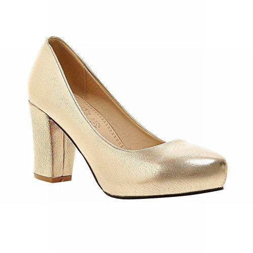Carolbar Mujeres Grace Chic Boda Nupcial Encanto Elegance Fiesta De Noche Plataforma Oculta Alto Grueso Talón Vestido Bombas Zapatos Oro