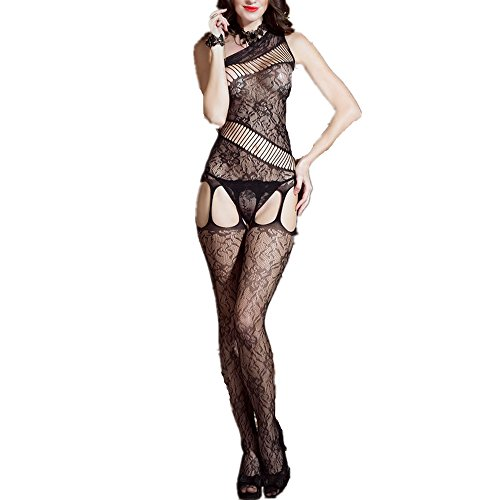 Oshlen Sexy Lingerie Babydoll Bodystocking Nightwear Crotchless Teddy Lace Fishnet bodysuit Sleepwear - Near Hollywood Shopping