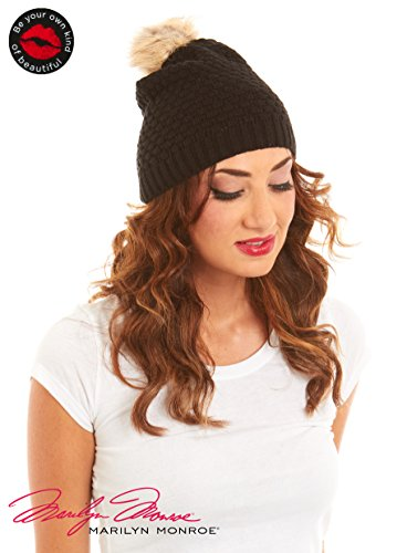 Marilyn Monroe Bubble Knit Beanie Faux Fur Pom