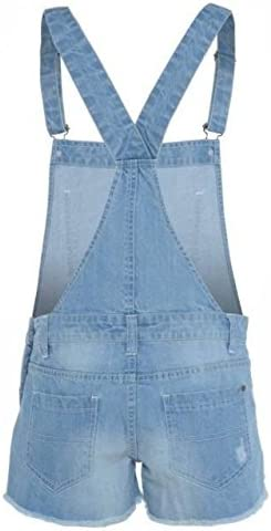 New Womens Ladies Denim Style Pinafore Dungaree Plus Size Short Jumpsuit Playsuit UK 8-16