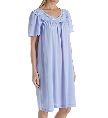 Unmentionables Embroidered Yoke Short Gown (5295) L/Periwinkle (Periwinkle Nightgown)