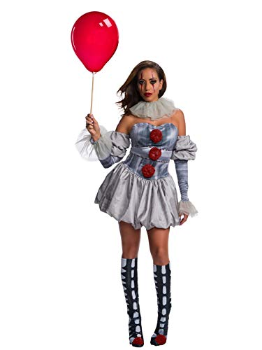 Adult Pennywise Clown Costumes - Rubie's Movie Women's Deluxe Pennywise Costume,