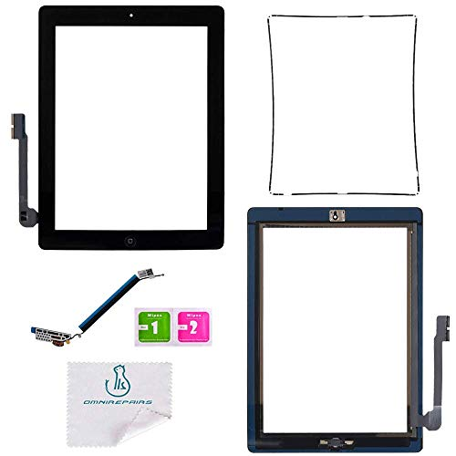 - OmniRepairs Touch Screen Glass Digitizer OEM Assembly Replacement with Home Button Flex Compatible for iPad 3 (3rd Generation) with Adhesive Tape and Midframe Bezel (Black)