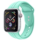 Sundo Sport Band Compatible with Iwatch Band 38mm 40mm Classic Soft Silicone Wrist Strap Bracelet Replacement for iWatch Series 4 Series 3 Series 2 Series 1 S/M M/L(Mint Green 38/40mm S/M)