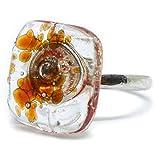 Joyería para mujer - Anillo de plata y vidrio brillante Mosaico Rojo