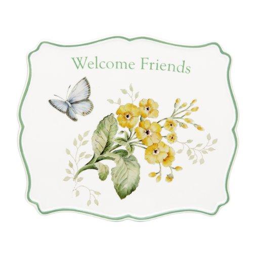 - Lenox Butterfly Meadow Sentiment Trivet, Welcome Friends, 7-1/2-Inch