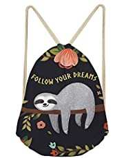 UNICEU Children Drawstring Bag Animal Sloth Printing Travel Backpack