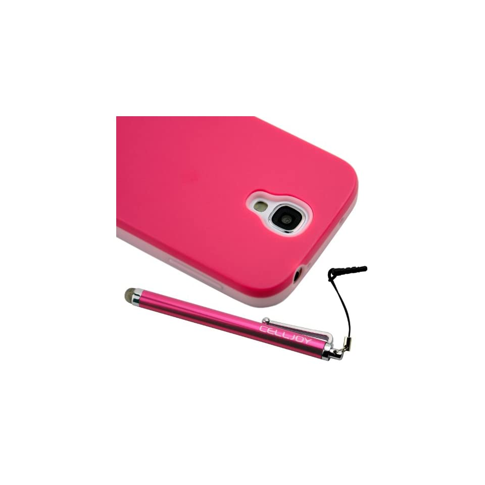 CellJoy Hybrid TPU 2PC Layered Hard Case Rubber Bumper & Smoothglide Capacitive Stylus Touch Pen for Samsung Galaxy S4 SIV (At&t / Verizon / US Cellular / Sprint / T Mobile / Unlocked) [CellJoy Retail Packaging] (Hot Pink / Pink)