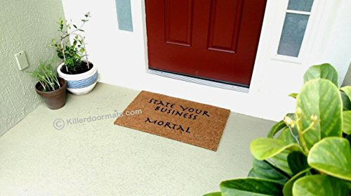 State Your Business Mortal Funny Doormat, Size Large - Welcome Mat - Doormat - Custom Hand Painted Doormat by Killer Doormats