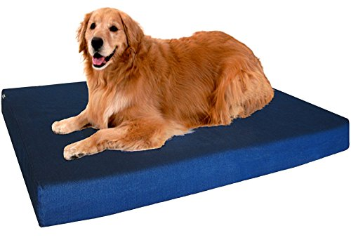 Dogbed4less XL Premium Orthopedic Memory Foam Dog Bed, Durable Blue Denim Cover with Waterproof Liner and Extra External Case, Gel Cooling 47X29X4 Pad ()