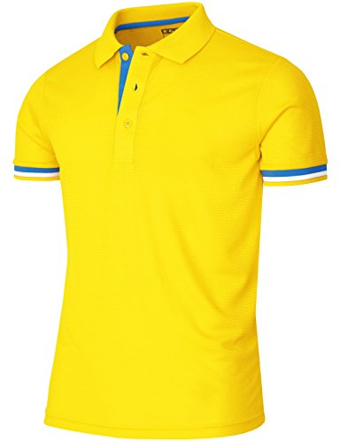 BCPOLO Men's Polo Shirt Short Sleeve Dri Fit Golf Polo Shirt Casual Polo Shirt-Yellow M
