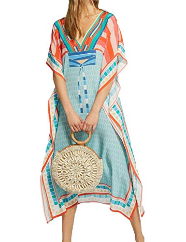 Long Up Cover - Bsubseach Batwing Sleeve Colorblock Beach Robe Kaftan Dress Women Long Swimsuit Cover Up Orange Blue