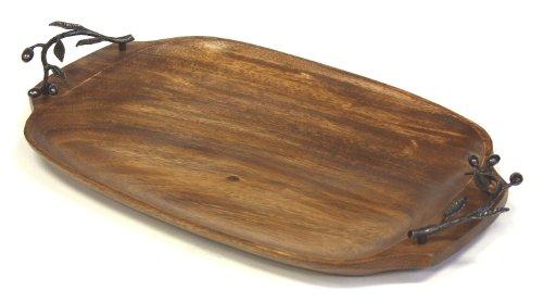 Mountain Woods Kona Berries Acacia Hardwood Serving Tray with Solid Metal Handles