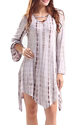 Dyed neckline Women's Anatoky Tunic Lace Fit V up Brown Trapeze Loose Tie Dress naSwwYqf