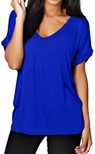 Corta Tee Top Camicetta Comfy Over Roll Fit Scollo V Maglietta Blu Butterme Donne Loose Manica Delle Con Scuro Di Modo A Solid 7wxTUp