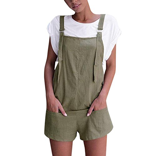 Womens Solid Playsuit,Realdo Elastic Waist Dungarees Linen Cotton Pockets Rompers Shorts Pants(Green,Large)