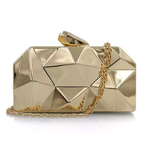 Goldina Women's Evening Bags Gold Clutches Purses Diamond Shape Purses Crossbody Handbag Shoulder Bag for Party