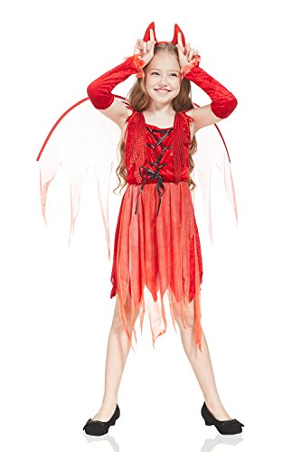 Kids Girls Little She-Devil Demon Costume Halloween Party Gothic Goth Dress Up (3-6 years, Red) - Devil Costume Makeup Ideas