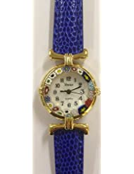 Venezia Millefiori Watch - Blue Band & Gold