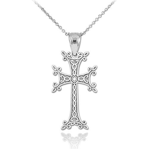 Dainty 925 Sterling Silver Armenian Cross Pendant Necklace, 18