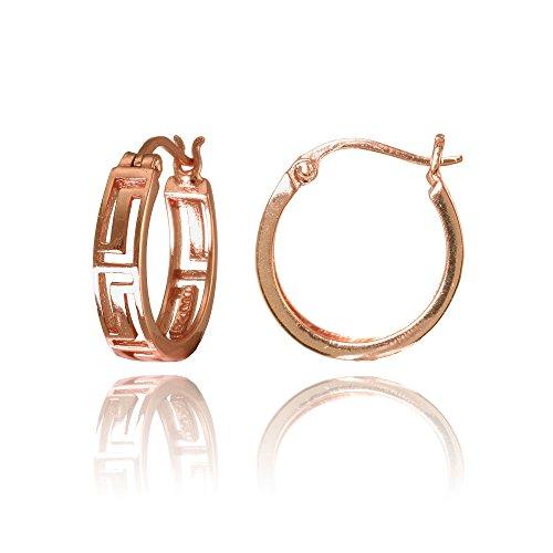 Greek Key Post Earrings - Rose Gold Flashed Sterling Silver Greek Key 15mm Round Hoop Earring