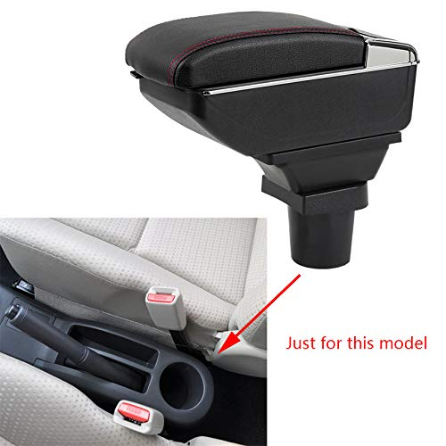 (8X-SPEED for Yaris Luxury Car Armrest Center Console Accessories Arm Rest Built-in LED Light Black)