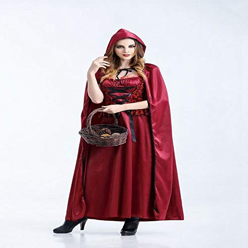 Yunfeng Women Santa Claus Costume Halloween Princess Dress Little Red Riding Hood Role Playing Cloak Christmas Game Suit Fancy Dress Adult Christmas Party Cosplay Costume ()