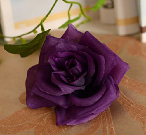 Aimeart Wedding Decoration Photo Booth 13 Tough Silk Cloth Flowers, Dark (Dark Purple Flower)