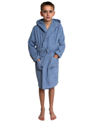 TowelSelections Little Boys' Robe, Kids Hooded Cotton Terry Bathrobe Cover-up Size 4 Blue (Cotton Robe Boys)