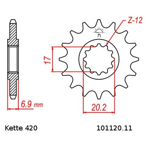 Kettensatz CPI SX 50 Supercross 03-10 BLAU offen 11//62 Kette RK FB 420 SB 136