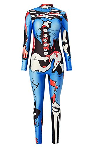 TUONROAD 3D Graphic Printed Halloween Costumes Ideas RoyalBlue Black White Bones Organ Red Blood Skin Tight Skeleton Bodysuit Jumpsuit Xray High Neck Catsuit for Young Adult Female Women Ladies