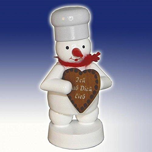 Schneemann Bäcker mit Lebkuchen-Herz Höhe ca 8cm NEU Erzgebirge Miniatur
