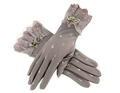 (リアルスタイル) Real Style 紫外線をしっかりガード!! タッチパネル UVカット 日焼け止め手袋 手袋 ショート グローブ 薄手 メッシュ 清涼 リボン 花 滑止め付 女性 レディース