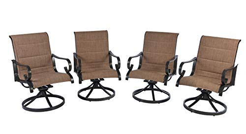 Set of 4 Pebble Lane Living Outdoor Aluminum Padded Swivel Sling Patio Dining Chairs with arms- Bronze