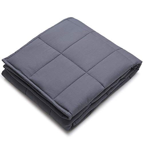 YnM Weighted Blanket for Couple, 25 lbs 80x87 King Size | 100% Cotton Material with Glass Beads | Free Gift: A Dark Grey Premium Cotton Duvet Cover